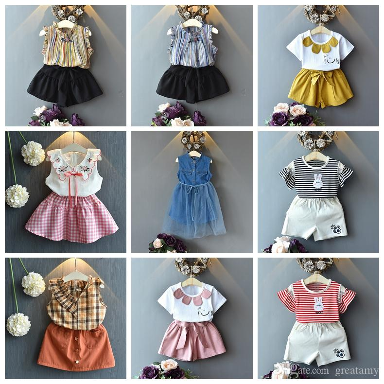 12 Design baby girls summer clothing set striped bunny flower chiffon denim style girl fashion suit top tees+skirts or hot pants 2pcs set