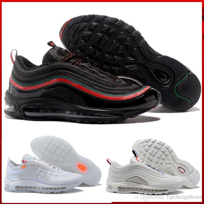 08c12328 Compre Nike Air Max 97 Airmax 97 Zapatos Al Aire Libre De Alta Calidad  Zapatos Casuales Ocio Gold Silver Bullet Triple Blanco Negro Casual Para  Mujer Para ...