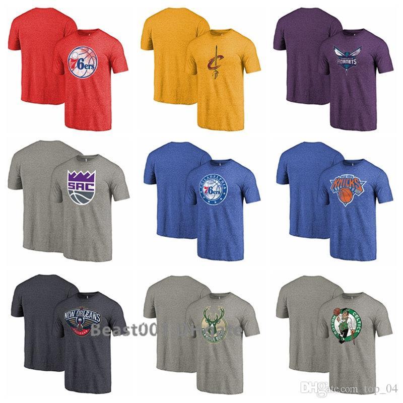 huge selection of a4d48 b5dc0 Men Fanatics Branded 76ers Cavaliers King Knicks Pelican Bucks Celtic  Heather Distressed Team Logo Tri-Blend T-Shirt