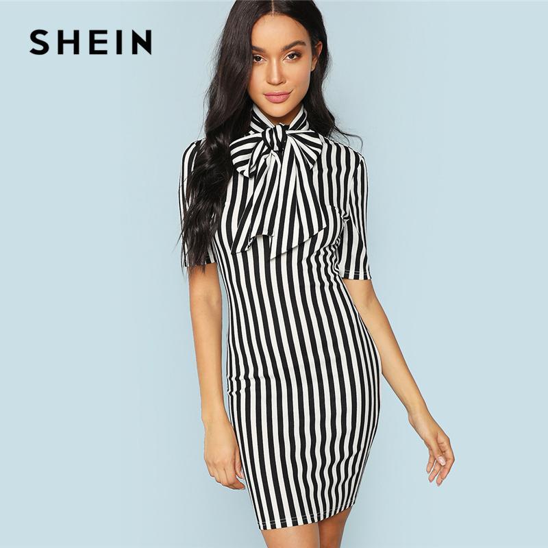 c53bd551b Compre Shein Blanco Y Negro Oficina Señora Elegante Pajarita A Rayas De  Cintura Natural Lápiz Vestido 2018 Mujeres Del Verano Ropa De Trabajo  Vestidos ...