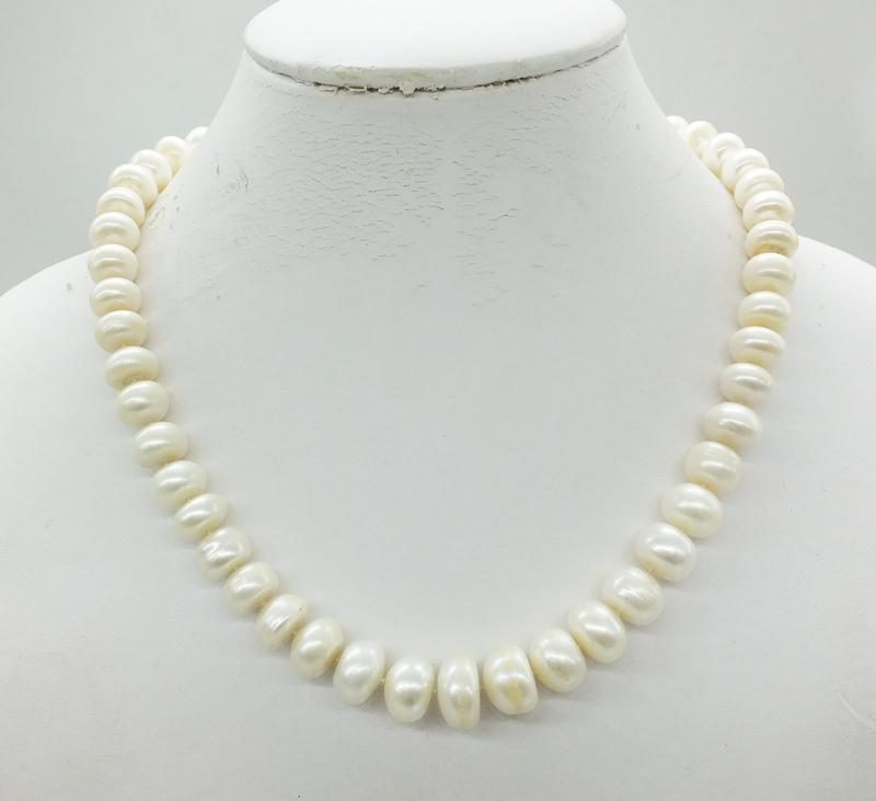 6adf62cf53918d 3A genuine pearl necklaces,6-14mm white freshwater pearl necklaces,wedding  bridesmaid accessories, women jewelry 18