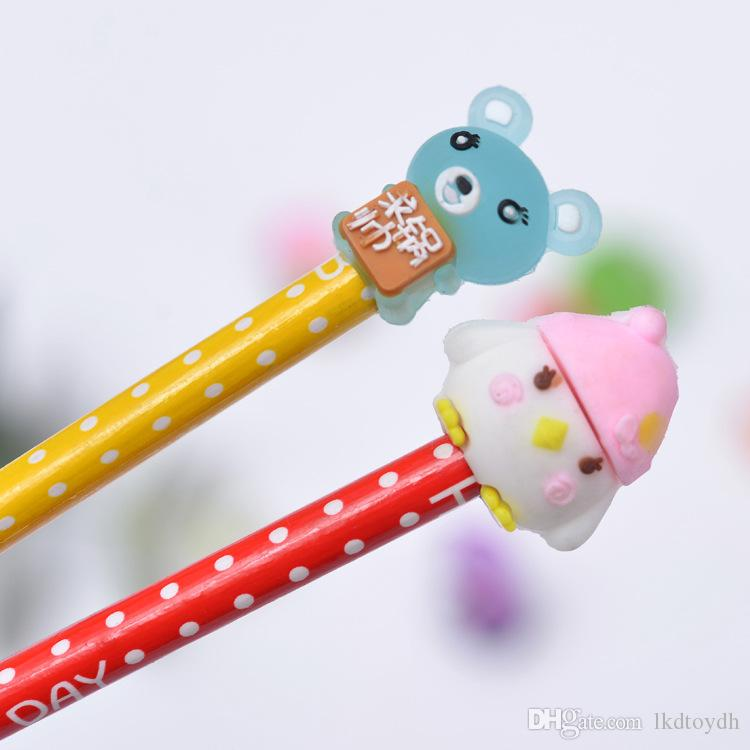 Cute Bear Donuts Pen Cap Funny Cartoon TPR Pen Decoration Desktop Car Props toys Small Grift For Children Kids