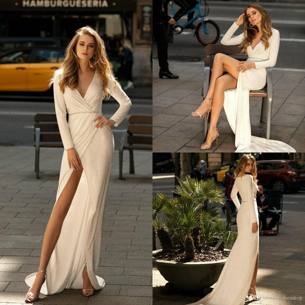 2020 Chic Long Sleeve Wedding Dresses Thigh High Slit Sequined Satin Beach Wedding Gowns Ruched V Neck Custom Made vestido de novia