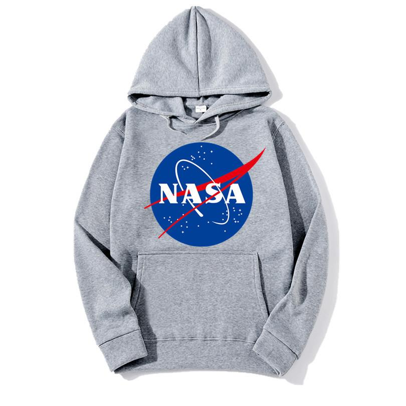 NASA Print Streetwear Hoodies Mens Womens Casual Loose Pocket Design Hooded Sweatshirts Teenagers Pullover Hoodies Tops