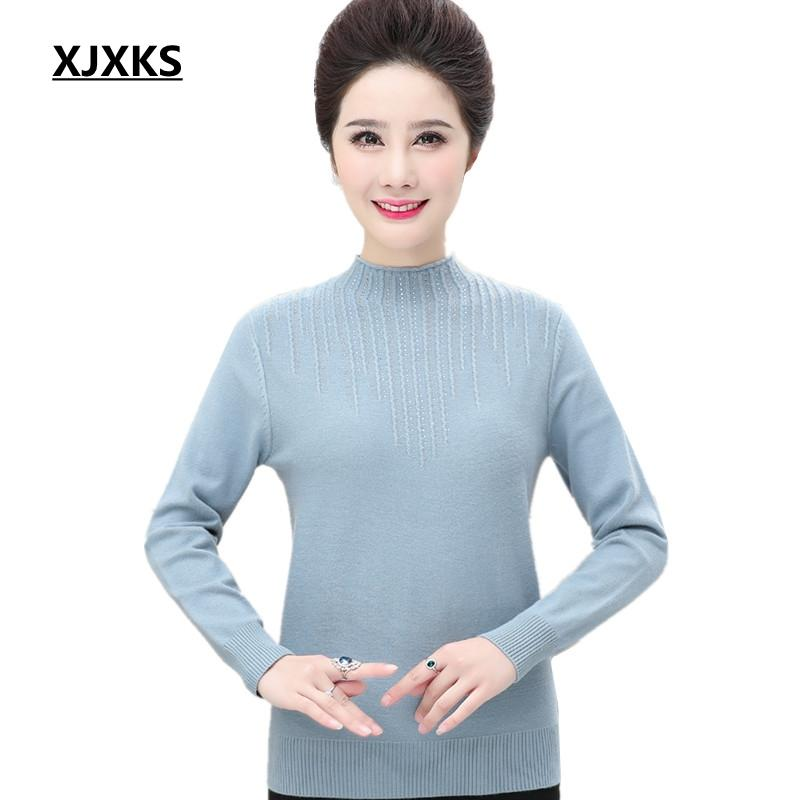 33d8c5fffa3 2019 XJXKS Casual Spring Clothes Women Half Turtleneck Sweater High  Elasticity Plus Size 4xl Wool Knitted Women Pullover Sweater From Hannahao
