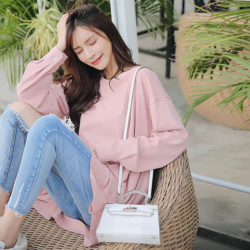 2019 6015 2019 Spring Korean Fashion Maternity T Shirts Large Size Loose T  Shirts Clothes For Pregnant Women Pregnancy Blouses Tops From Cornemiu,
