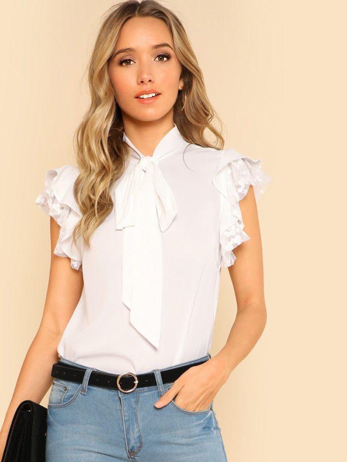 Compre Mujeres Cuello Con Corbata Volantes De Tops Encaje Camisas xUxOqF