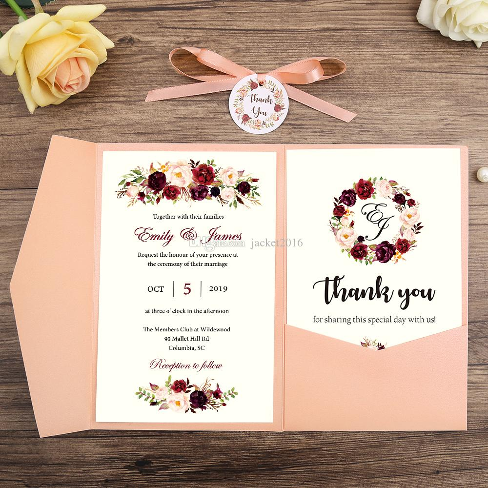 2019 Wedding Invitations Pocket Greeting Cards With Rsvp Card With Ribbon And Round Tag Customized Quinceanera Invitation Card