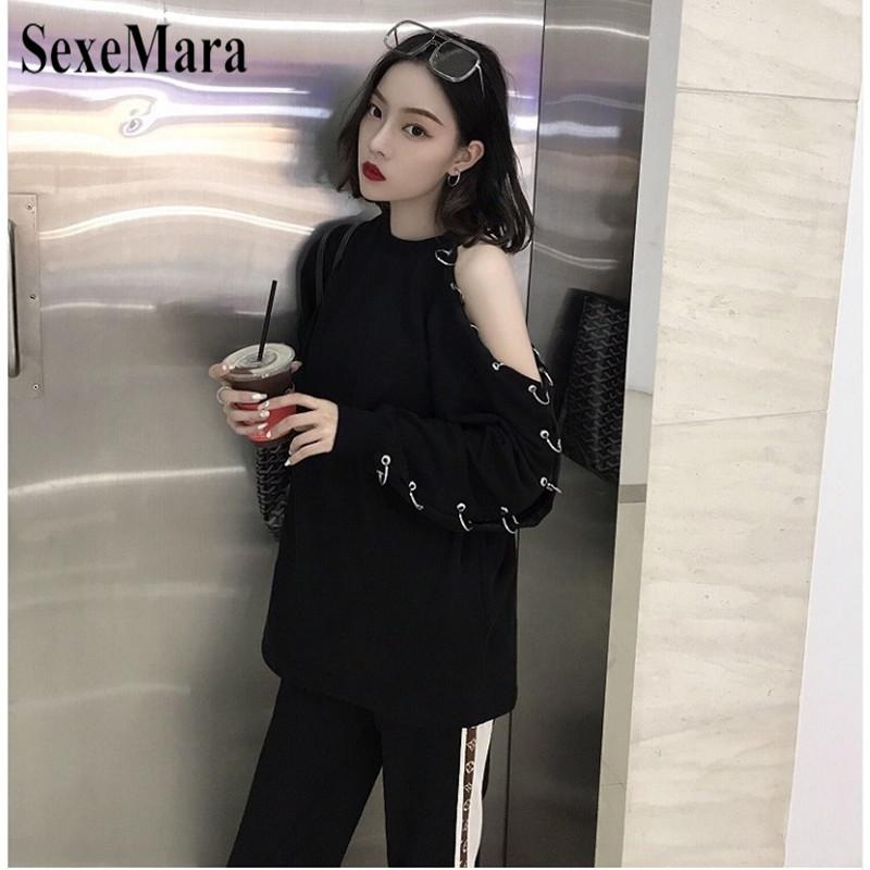 6acc48e50cf3e 2019 2019 Spring New Korean Harajuku Women Shirt Long Sleeve Chic Style Black  Top Off Shoulder With Hole Ring Sexy Casual Shirt From Beimu