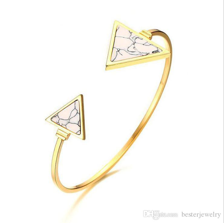 fashion women jewelry 316L stainless steel gold bangle bracelet triangle white turquoise cuff bangle free shipping