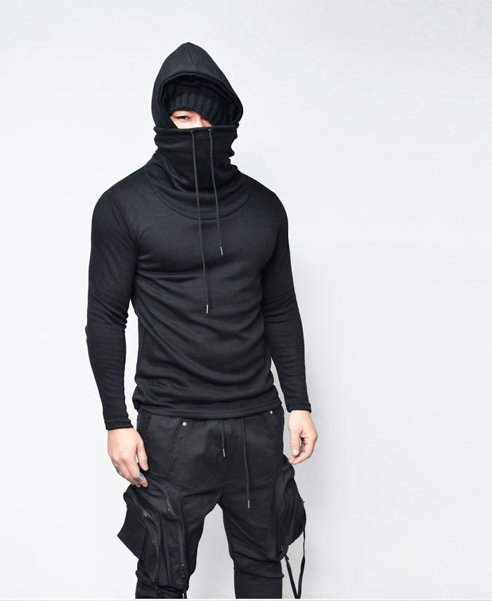 Compre Cuello Alto Cuello Alto De La Camiseta De Los Hombres 2018 Nueva  Marca De Manga Larga Con Capucha Camiseta Homme Casual Loose Hip Hop Viento  Oscuro ... a4ccb1063db