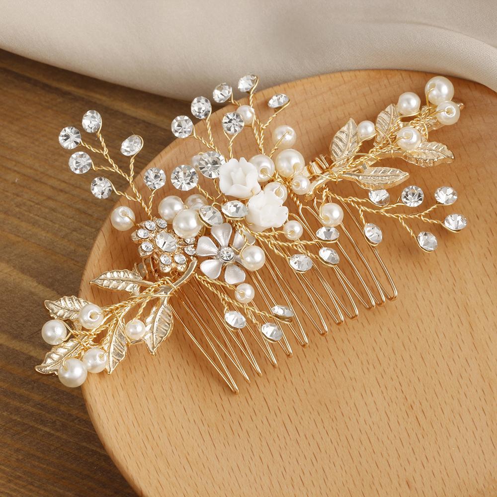 984424e44daa8 Metal Luxury Flower Hair Clip Headdress Prom Bridal Wedding Leaves ...