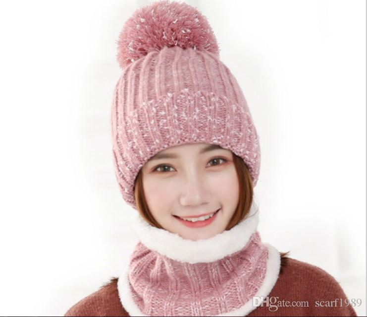 New hat women's Korean version plus sweater hat winter casual knit hat wholesale face mask scarf