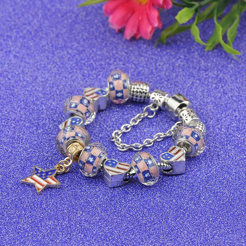 2019 Fashion Brand Charm Bracelets Women Silver Plated Fit Pandora Cuff Bangles America Flag Beads Snake Chain Crystal Pendant Jewelry P31