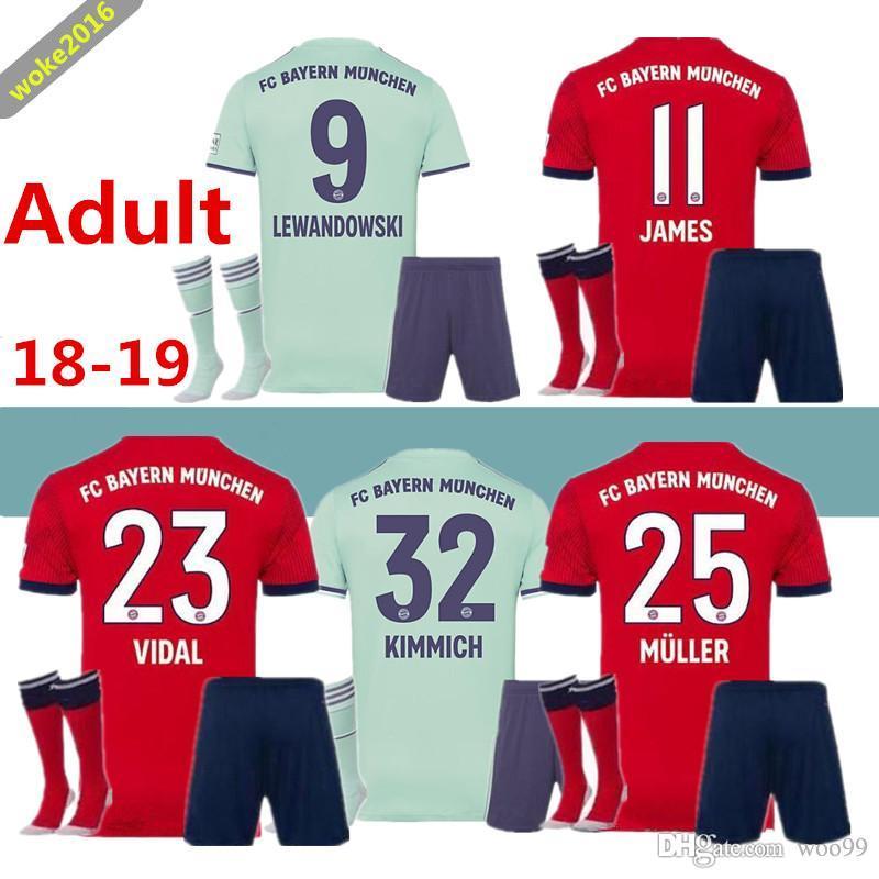 new style e72ee 27a85 Adult suit 2018 2019 Bayern Munich jersey 18 19 MULLER VIDAL LEWANDOWSKI  ROBBEN TOLISSO home football jersey JAMES football suit socks