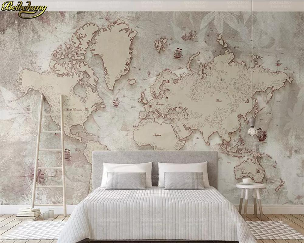 Custom Photo Wallpaper Mural Vintage Style Old American Nordic World Map Tv Background Wall Papel De Parede