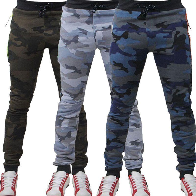 ac8099d9b3c 2019 2019 Men Vogue Vintage Camo Casual Pencil Pants Man Boys Side Striped  Zipper Trousers Pockets Casual Slim Fit Pants Plus Size From Angelyanyan
