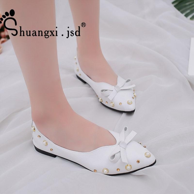 015a53437 Compre Designer De Sapatos De Vestido Shuangxi.Jsd Mulheres 2019 Verão New  Bow Boca Rasa Trabalho Elegante Mulher Sapato Grande Tamanho 40 Barato  Zapatos ...