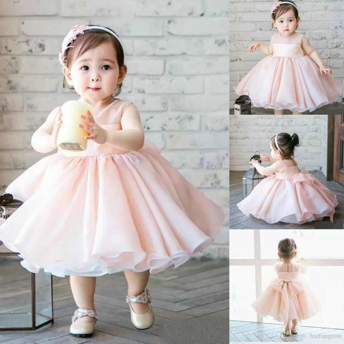c8a642a82 Pink Adorable Flower Girl Dresses Jewel Neck Beads Sleeveless Ball Gown Baby  Girl Clothes Tea Length Chiffon Kids First Communion Dresses Flower Girl ...