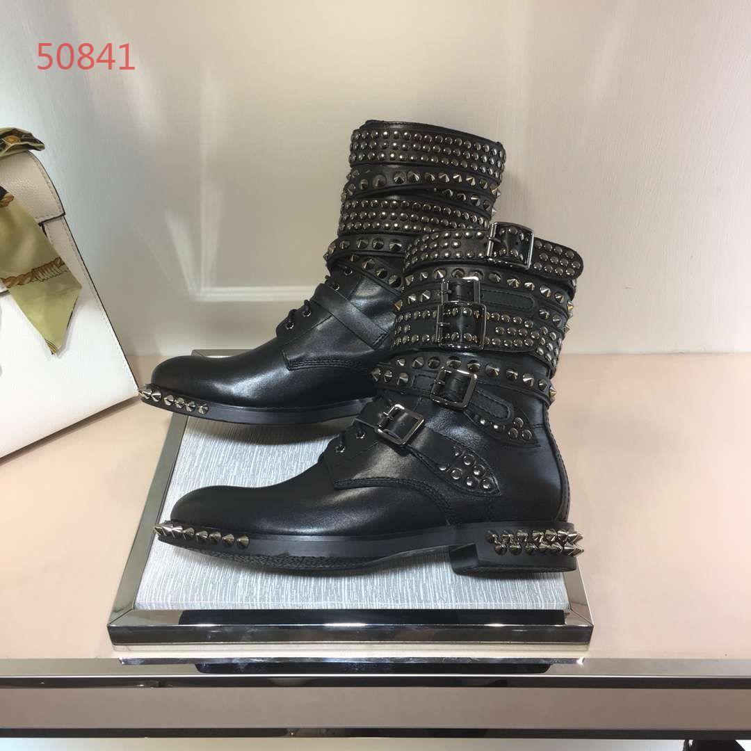 Luxury brand new style women flat boots genuine leather with rivet fashionable buckle best quality women shoes 34-40
