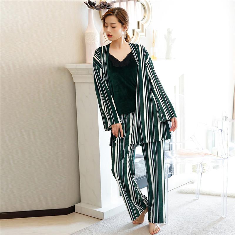 c7b33a541 Compre Mulheres Listras Conjuntos De Pijama Com Cinto 3 Peças De Manga  Longa Calças Compridas Camisola De Veludo Sleepwear Roupa De Casa Casuais  Outono ...