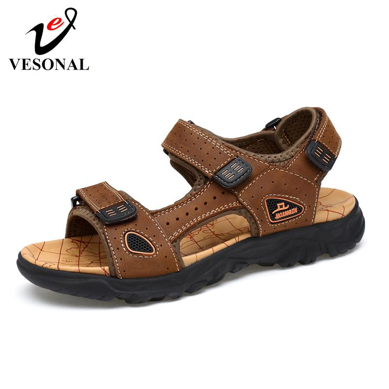 VESONAL Brand Summer Genuine Leather Men Sandals Beach Shoes Sports Outdoor Casual Fashion Comfortable Male Footwear Sandalias