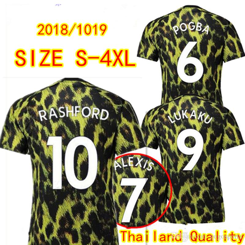 23d7f37bc9b EA SPORTS Man United Soccer Jerseys LUKAKU POGBA Leopard Uniform 18 ...
