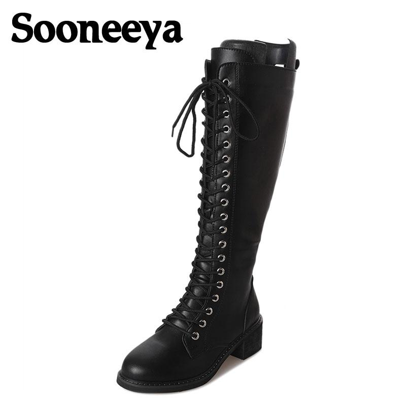 Sooneeya Zipper Lace Up Design Women Boots PU Punk Gothic Platform Shoes  Square Low Heel Riding Motorcycle Heel Knee High Boots Grey Boots Brown  Ankle Boots ... b9edd2f00