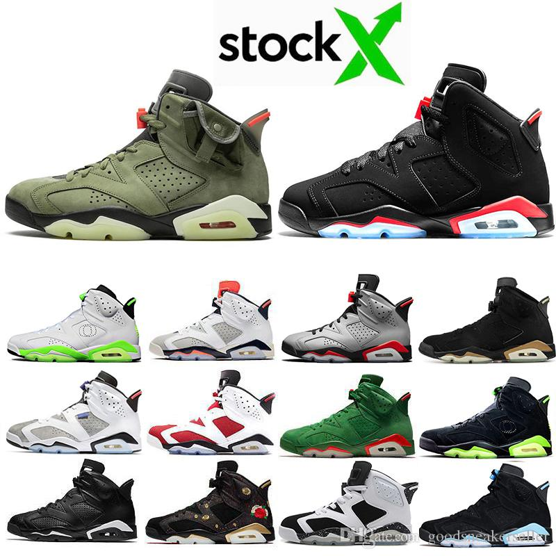 Discount Travis Scotts X 6 Medium Olive 6s Men Basketball shoes OG Yellow Cactus Jack UNC Reflective Bugs Bunny Oregon Outdoor sneakers