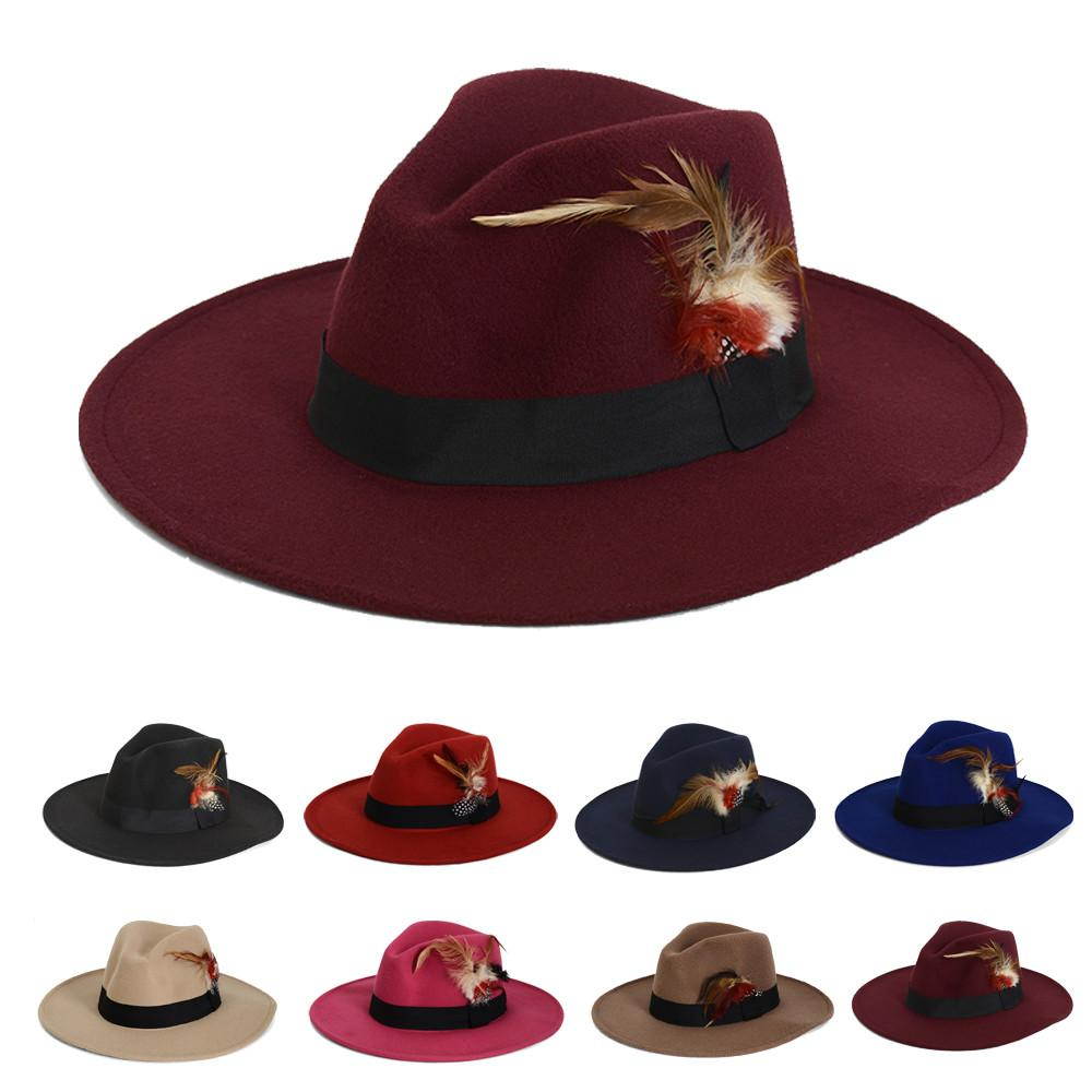 ce2837b4c49 FLOWERLI New Unisex Vintage Blower Jazz Felt Hats Men Trilby Cap Fedora  England Style Woolen Hats Felt Sombreros Online with  20.6 Piece on  Gaiming s Store ...