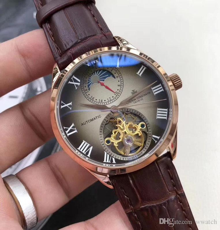 43c919b0d1c Prestige luxo Homens Relógios de Quatro-agulha Grande Fase da Lua Volante  Automático Relógios de Maquina de Couro Pulseira Famosa Marca de Relógio de  Pulso