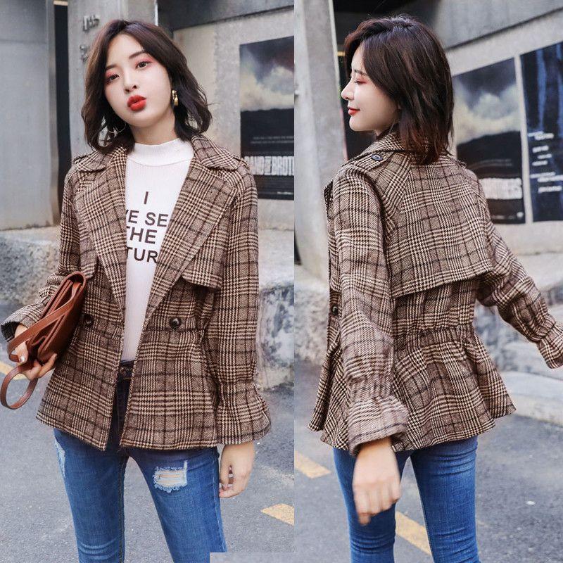 the best attitude a57a5 665e8 Mode Frauen Plaid Trenchcoat 2019 Frühling Herbst Neue Koreanische schicke  Taille Kurzen Wollmantel Weibliche Blazer Oberbekleidung X312