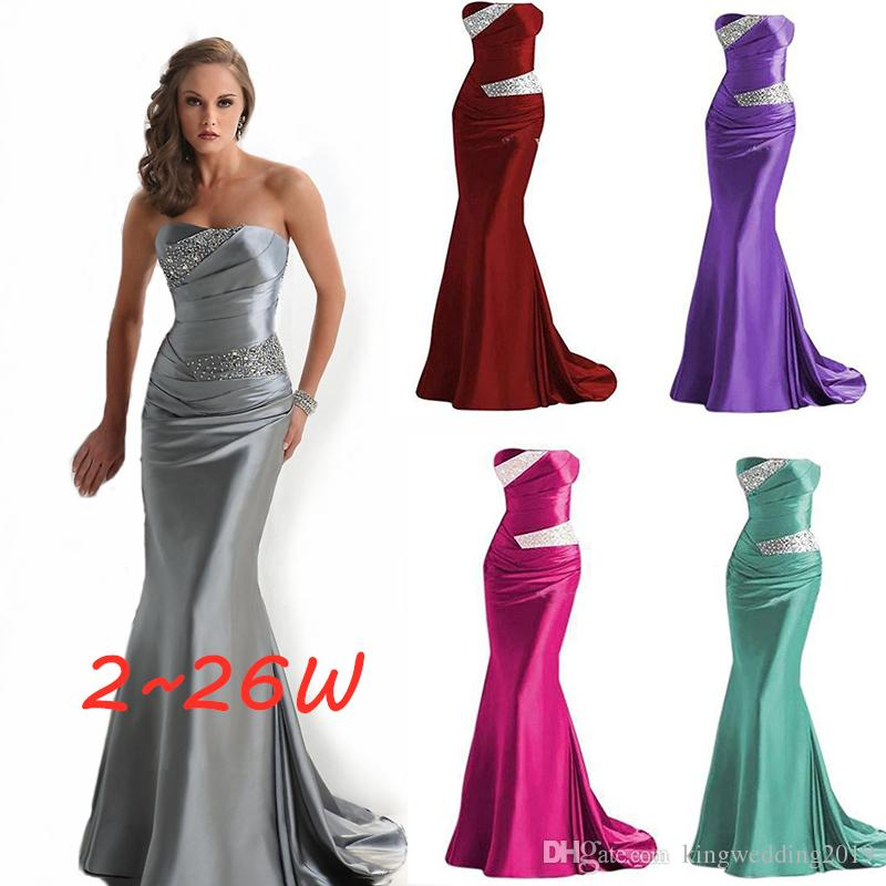bc51869d6f Grey Mermaid Sweetheart Long Elegant Evening Dress Many Colors Formal Gowns  Beading Satin Bridesmaid Dress Gowns Even Prom Dresses Evening Dress Gown  ...