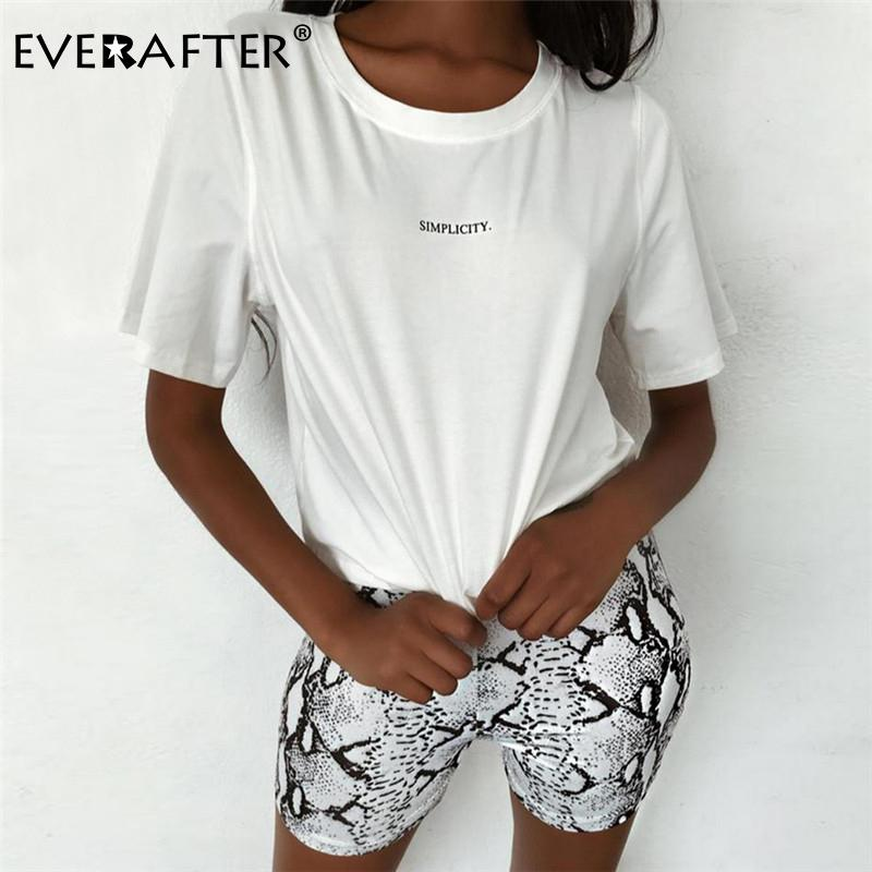 EVERAFTER Fashion harajuku t shirt women letter print short sleeve loose cotton white tops 2019 summer cool tshirts female top