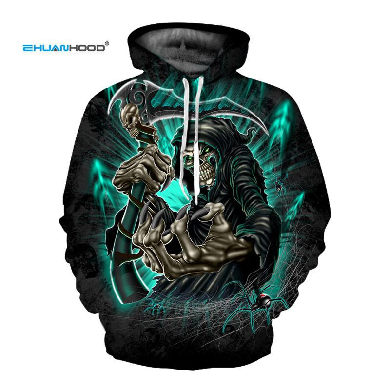 EHUANHOOD Skeleton Skull Print Mens Hoodies 3D Sweatshirts for Menclothes 2018 Cool Hip Hop Men's Sportswear Thin Man JacketMX190830