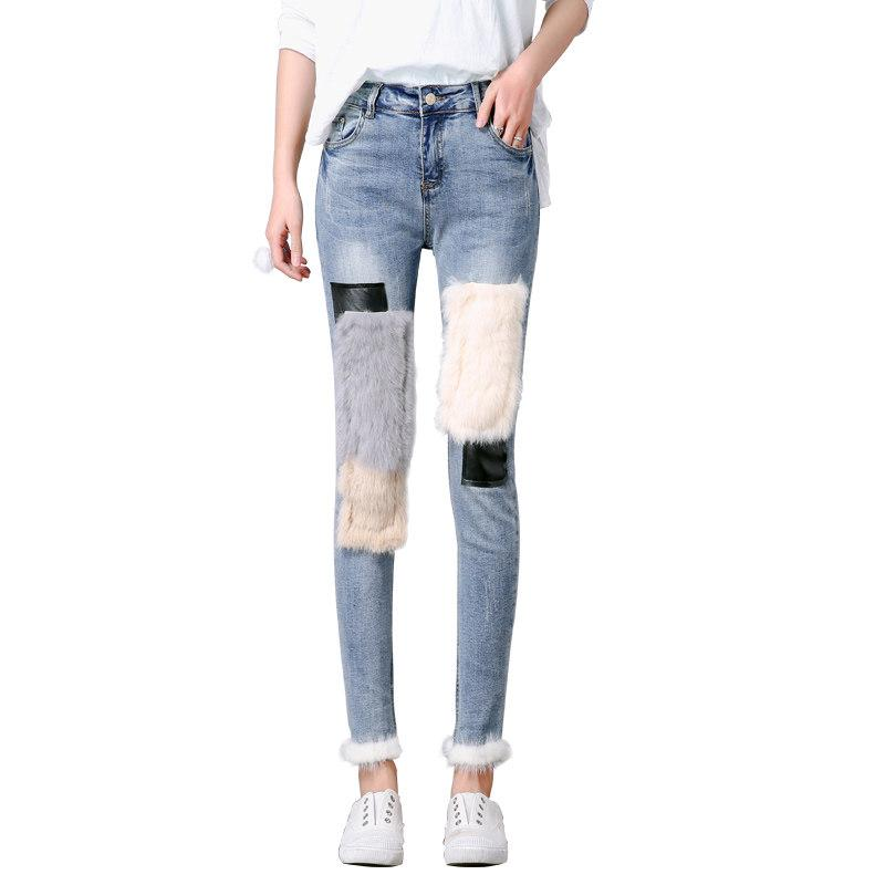 deaddb42f9d Rabbit Hair Plus Velvet Jeans Female High Waist Winter Feet New Korean  Version of the Thin Edge Mosaic Stitching Pants Online with  44.58 Piece on  ...