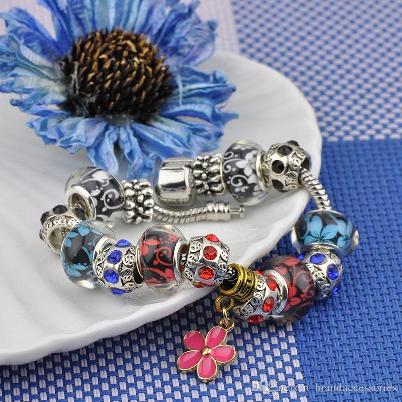 Marke Designer Silber Manschette Armbänder Frauen Diamant Glas Perlen Armreifen Kristall Perlen Passen Pandora Charm Armbänder Gänseblümchen Blume Anhänger P79