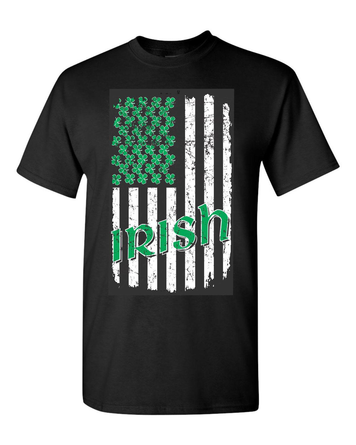 07a00e1ce St. Patrick'S Day Irish USA Flag W/ Green Shamrock'S Stars Men'S Tee Shirt  1587 Men'S Short Sleeve Cotton Printed T Shirt Vintage T Shirts Band T  Shirts ...