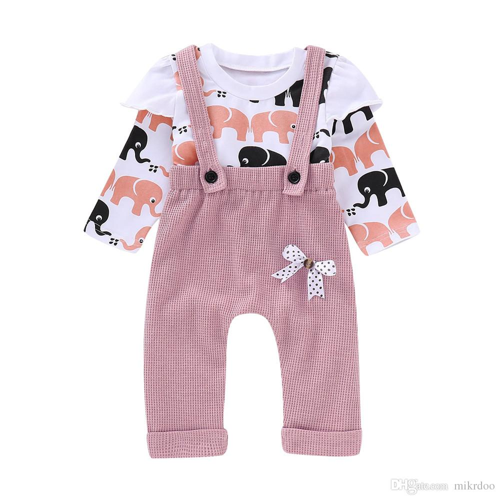 78ab94f21d50 Mikrdoo Toddler Newborn Baby Girl Spring Autumn Clothes Set Pink Cartoon  Elephants Long Sleeve Top Suspender Pant Overalls Kids Cotton Cloth