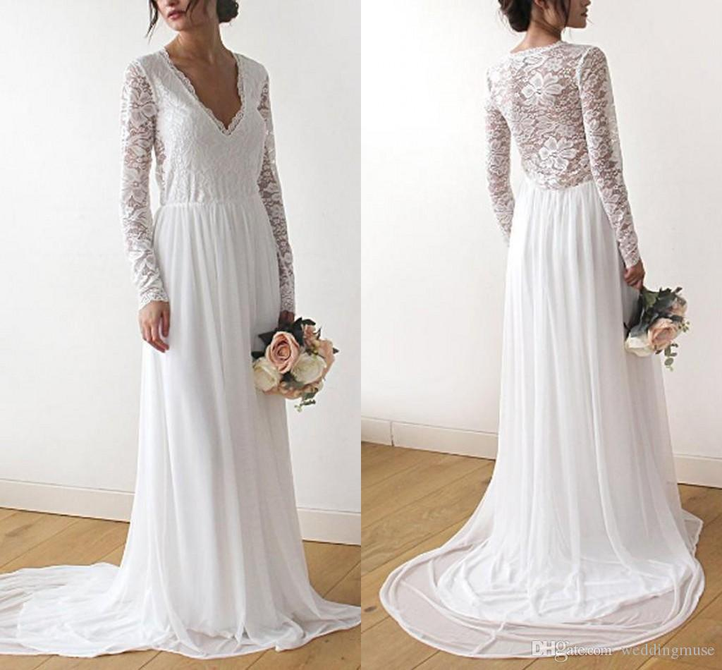 db8baa7e25 Discount Simple Lace Boho Pregnant Wedding Dresses Long Sleeve V Neck Sweep  Train Chiffon Bridal Gown Plus Size Beach Wedding Gown A Line Wedding Dress  ...