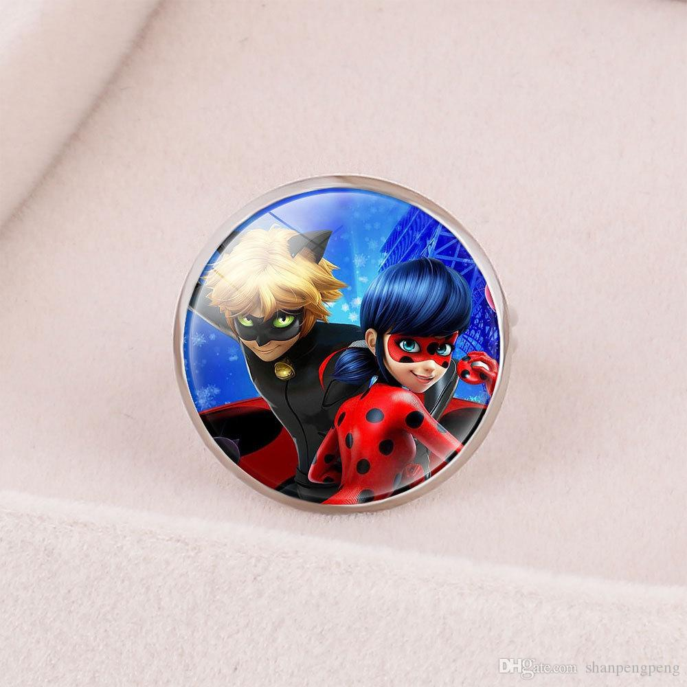 Style3 Anime Pattern Ladybug Girl Reddy Miracle Ladybug With Super Cat Ring Magic Gemstone Opening Adjustment Ring
