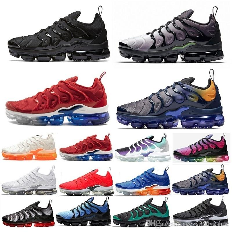 Nike air VaporMax air max airmax 2019 new arrival Shoes Nouveautés TN Plus Olive blanc rouge Métallique Blanc Argent Colorways Mâle Chaussure Pack
