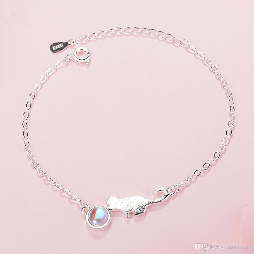 2019 New Fashion Simple S925 Sterling Silver Moon Stone Cute Kitty Cat Fashion Jewelry Bracciale a catena Regali feste nel Regno Unito