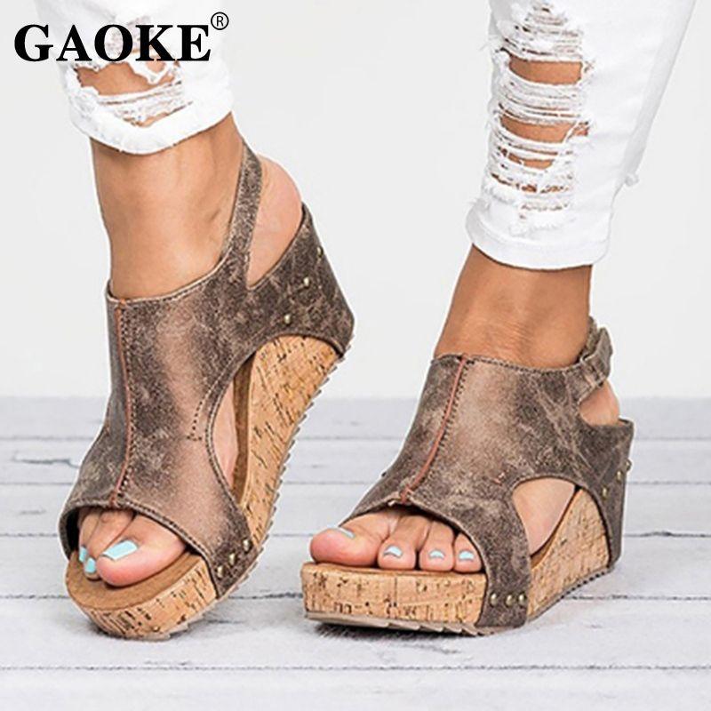 a2d6edf1c58 Gladiator Sandals Platform Women Wedges Shoes Female Summer Trifle Open Toe  High Black Flip Flops Slipper Size 43 Female Slides #10056