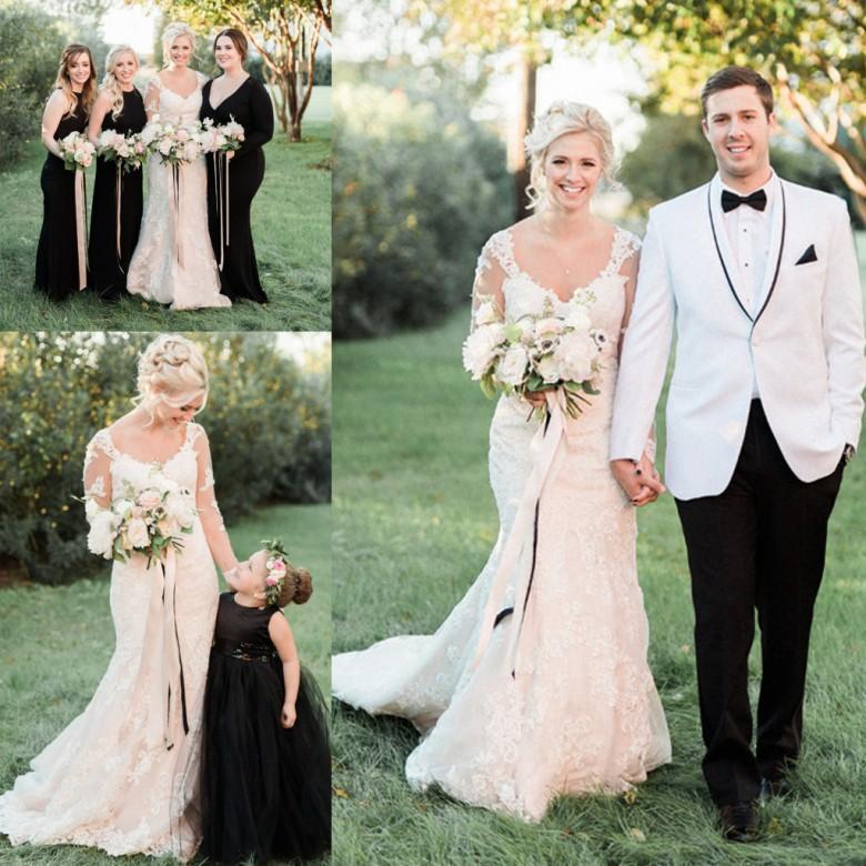 ca069eb6a 2019 Elegant Country Wedding Dresses Long Sleeves Scoop Neckline Mermaid  Western Bridal Gowns Court Train Zipper Back Reception Dress Wedding Dresses  With ...