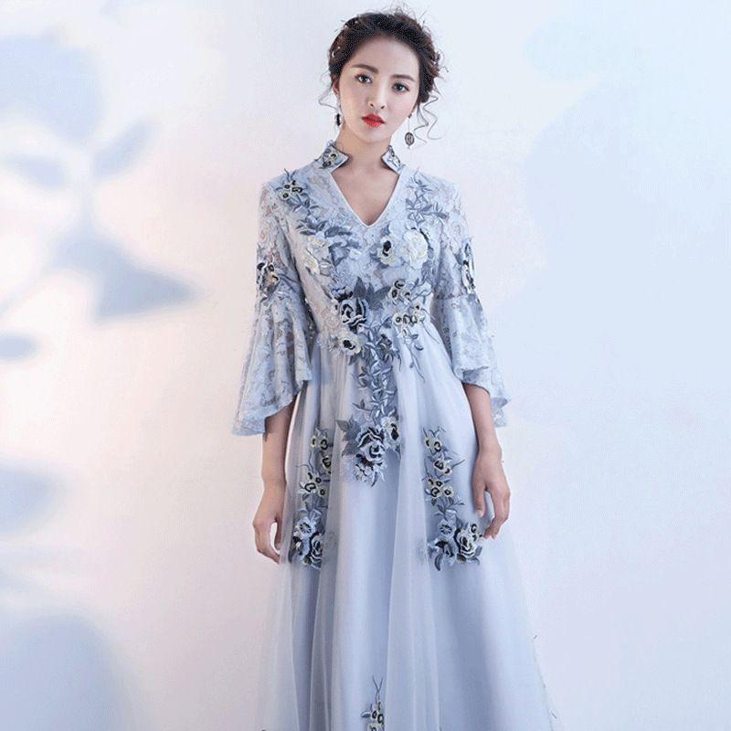 c2f5c84a8ca93 2018 Chinese Traditional Dress Modern Qipao Dress Evening Blue Cheongsam  Sexy Long Qipoa Party Dresses Chino Tradicional