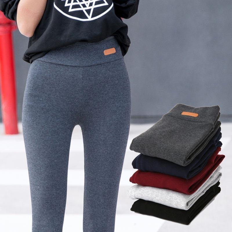 Leggings di cotone casual addensati Donna Autunno New Fashion Fitness Slim Fit Leggings alla caviglia Lable Pantaloni elastici Donna