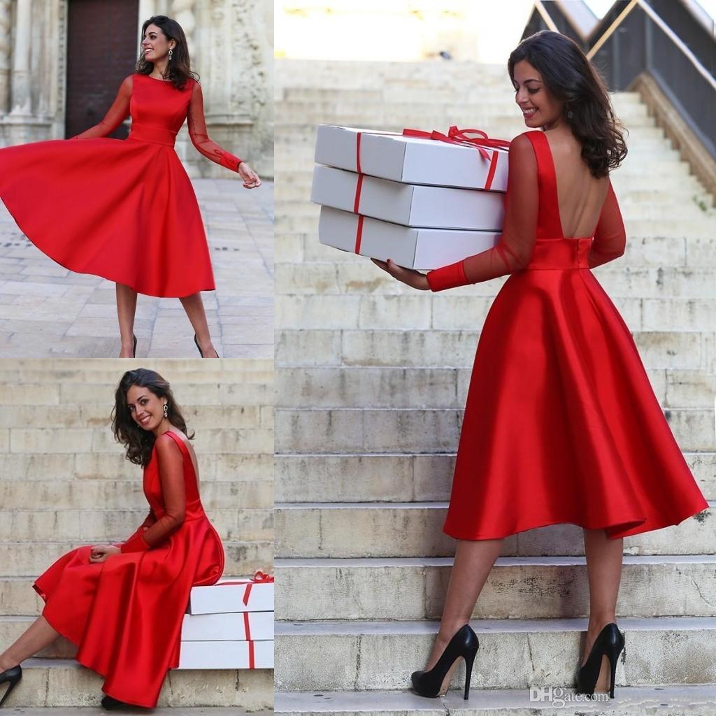 c0ebda8b9 Compre Sheer Mangas Largas Vestidos De Fiesta Rojos Vestidos De Fiesta  Vestidos De Graduación De Cóctel Sin Mangas De Cuello De Joya En Línea Vestidos  De ...
