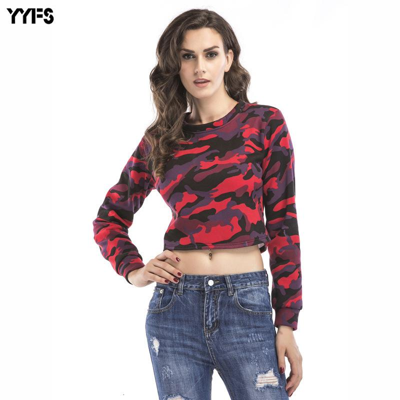 2019 Shirt Wear Women's Camouflage Short A Style Of Sanitary Clothes Round Collar Plus Velvet Jacket Female T Shirts