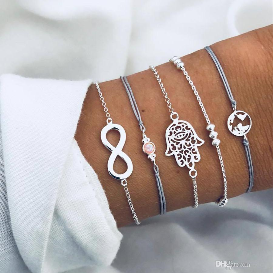 7d5418d9624 Acheter 2019 Nouvelle Mode Bohème Palm Carte Charme Bracelets Bracelets  Pour Les Femmes De La Mode Gris Corde Chaîne Perles Strand Bracelets  Ensembles ...